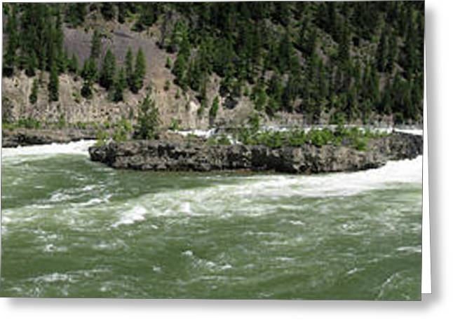 Kootenai Falls Panorama Idaho Landscape Larry Darnell Greeting Card by Larry Darnell