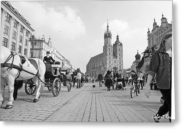Krakow Carriages Greeting Card by Robert Lacy