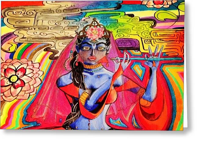 Krishna Greeting Card by Jeffrey Kyker