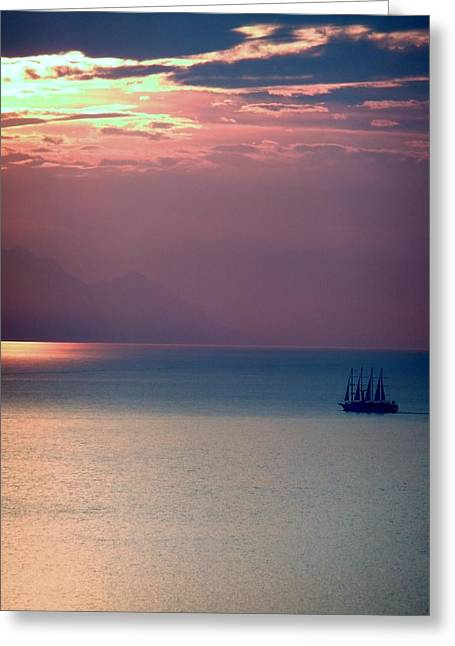 Kusadasi Sunset Greeting Card by Steve Mangan