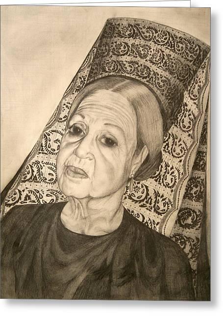 La Dona With Spanish Mantilla Greeting Card by Susanne Perez