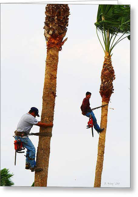 La Feria Texas Palm Tree Trimmers Greeting Card by Roena King