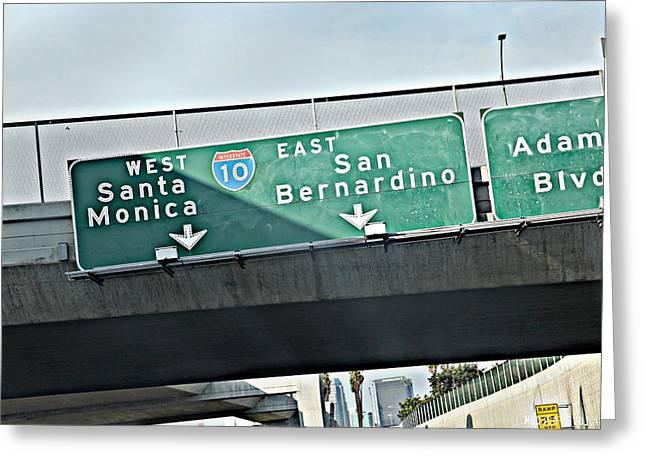 La Freeway Greeting Card by D Wash