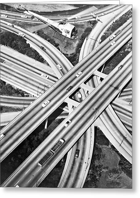 La Freeway Interchange Greeting Card by Underwood Archives