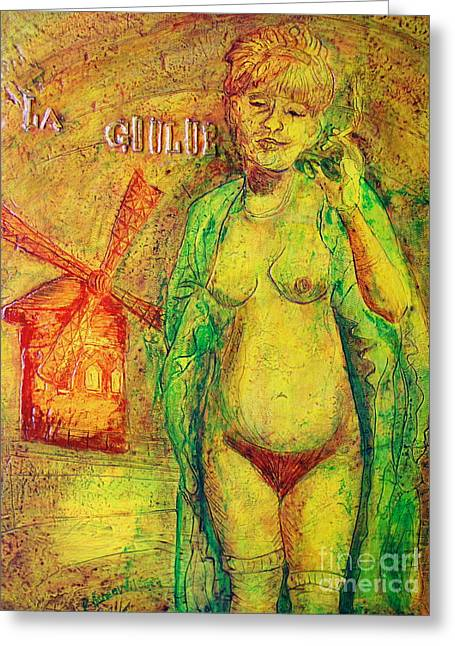 Greeting Card featuring the painting La Goulue by D Renee Wilson