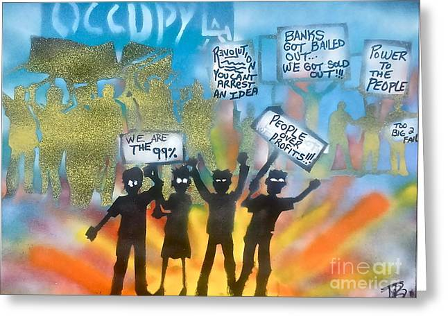 La Is..occupied Greeting Card by Tony B Conscious