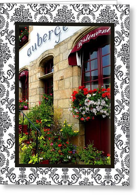 La Roche-bernard's Auberge Des Deux Magots Greeting Card by Carla Parris