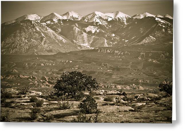 La Sal Mountains Utah Greeting Card by Marilyn Hunt