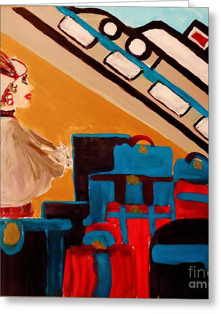 La Shai Waits For The Queen Mary II Greeting Card by Marie Bulger