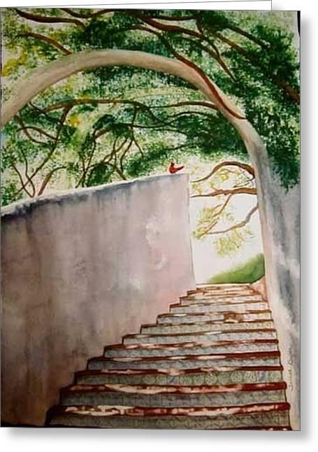 Greeting Card featuring the painting La Villita Stairway by Teresa Beyer
