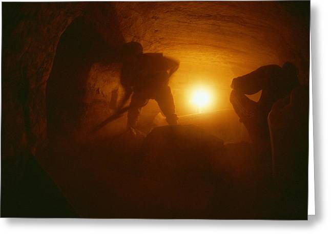 Laborers Clear Rubble From The Tomb Greeting Card by Kenneth Garrett