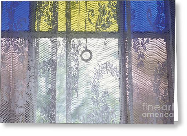 Lace Curtain And Stained Glass Window Panes Greeting Card