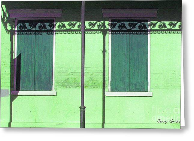 Lace Shadows And Plank Shutters Greeting Card by Jerry Grissom