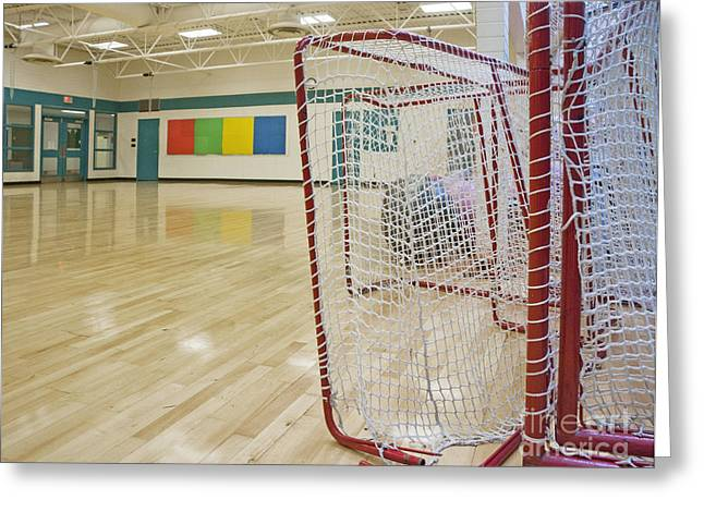 Lacrosse Goals In A Gymnasium Greeting Card