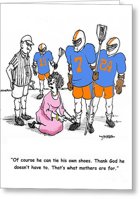 Lacrosse Mom Ties Shoes Greeting Card by John Crowther