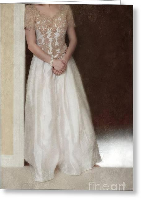 Lacy In Ecru Lace Gown Greeting Card by Jill Battaglia