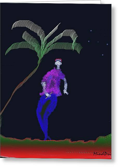 Greeting Card featuring the digital art Lad With A Flute by Asok Mukhopadhyay
