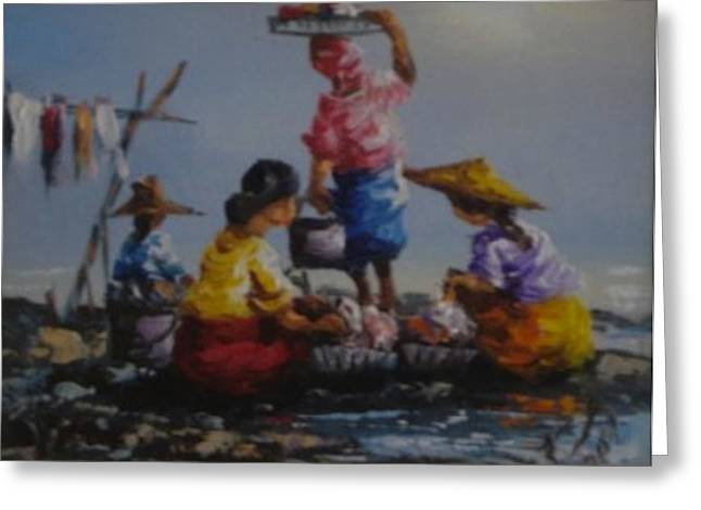 Ladies  Washing Clothes The River Greeting Card by Pretchill Smith