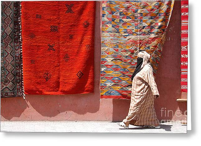 Lady And The Carpets Greeting Card by Steve Goldstrom