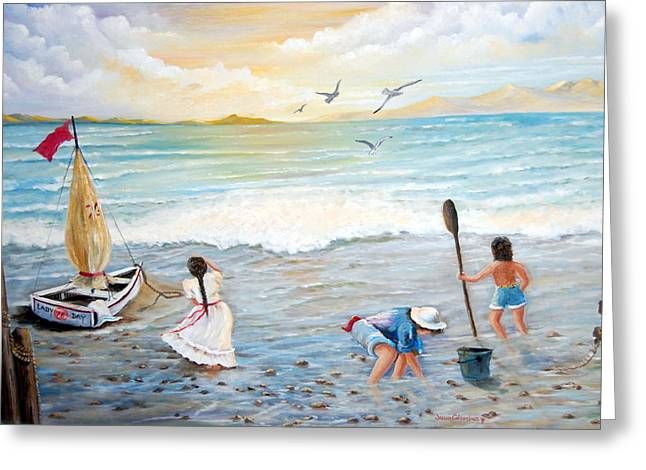 Lady Bay Children On The Beach Greeting Card by Janna Columbus