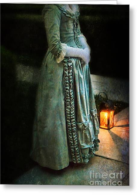 Lady By Lantern Light Greeting Card by Jill Battaglia