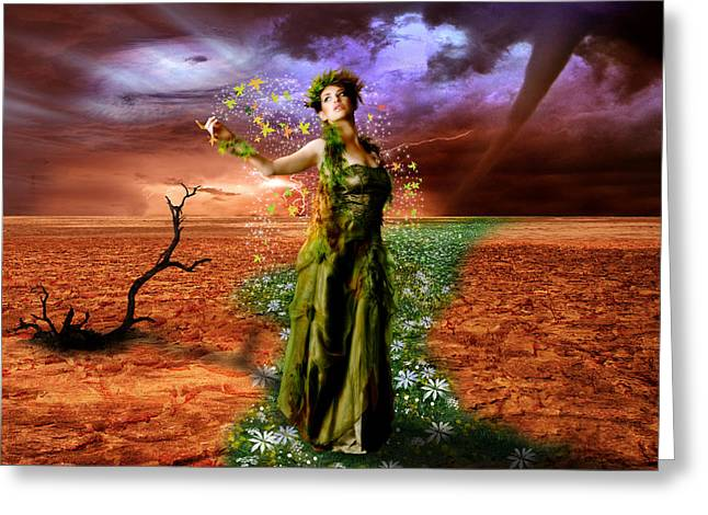 Lady Gaia Greeting Card by Julie L Hoddinott