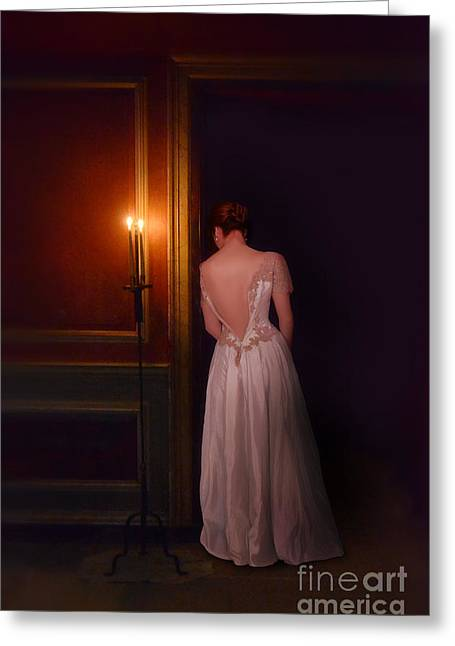 Lady In Candle Light Greeting Card by Jill Battaglia