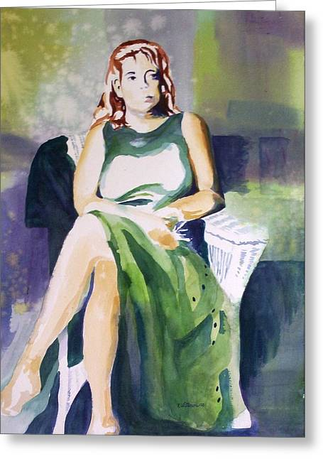 Greeting Card featuring the painting Lady In Green by Richard Willows