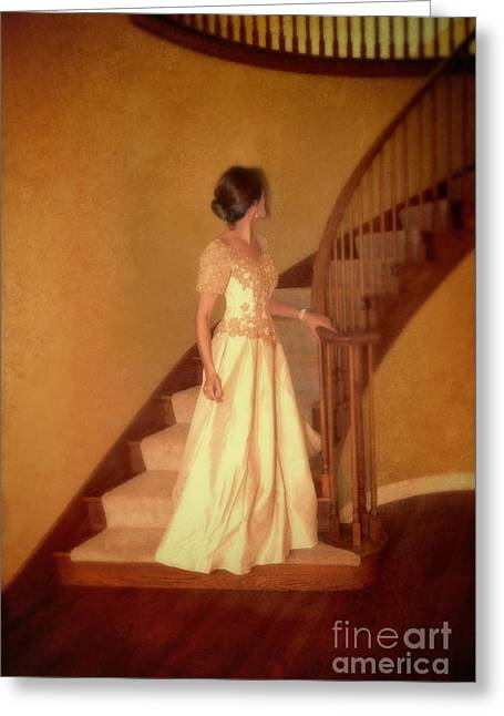 Lady In Lace Gown On Staircase Greeting Card by Jill Battaglia
