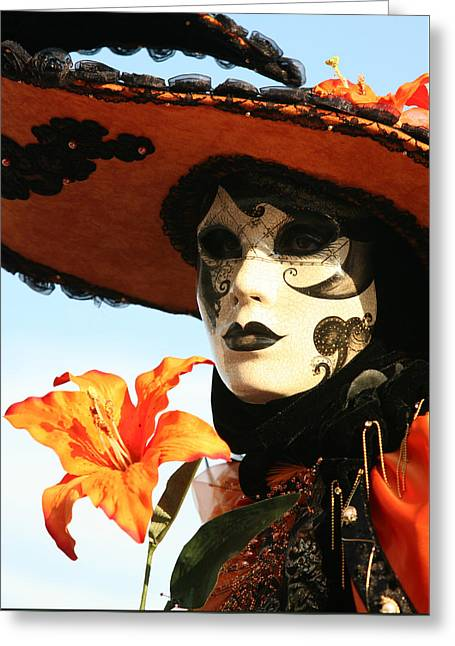 Lady In Orange With Flower Greeting Card by Donna Corless