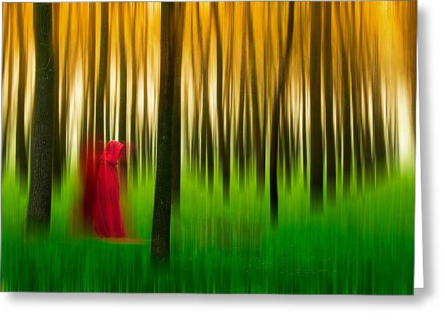 Greeting Card featuring the photograph Lady In Red - 3 by Okan YILMAZ
