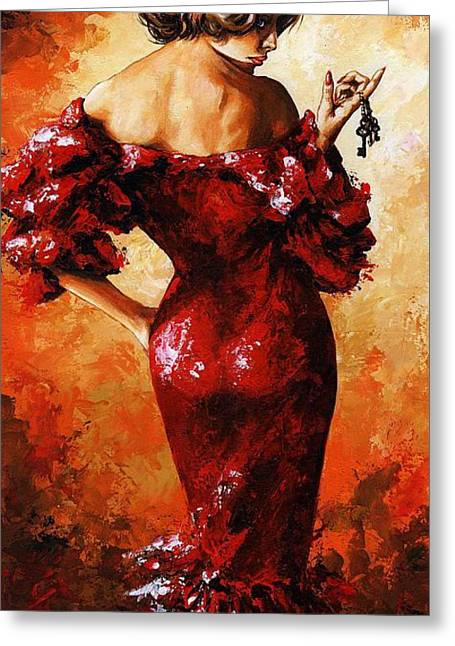 Lady In Red 33 Greeting Card by Emerico Imre Toth