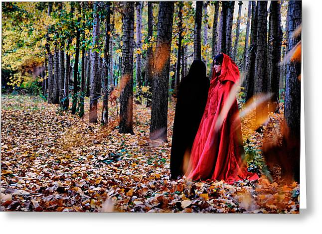 Lady In Red - 4 Greeting Card