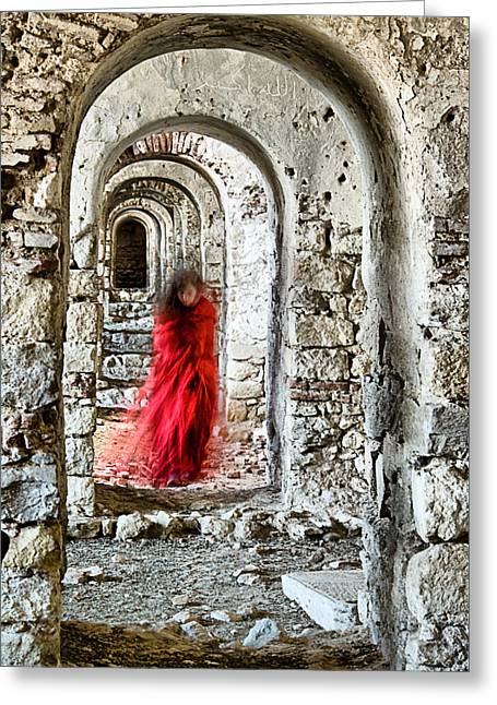 Greeting Card featuring the photograph Lady In Red by Okan YILMAZ