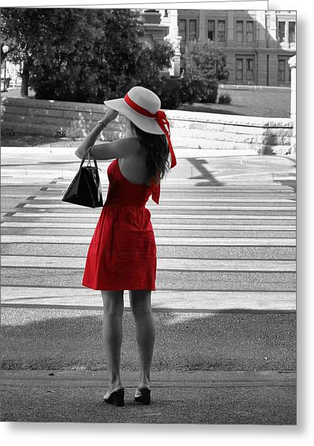 Lady In Red With Color Splash Greeting Card