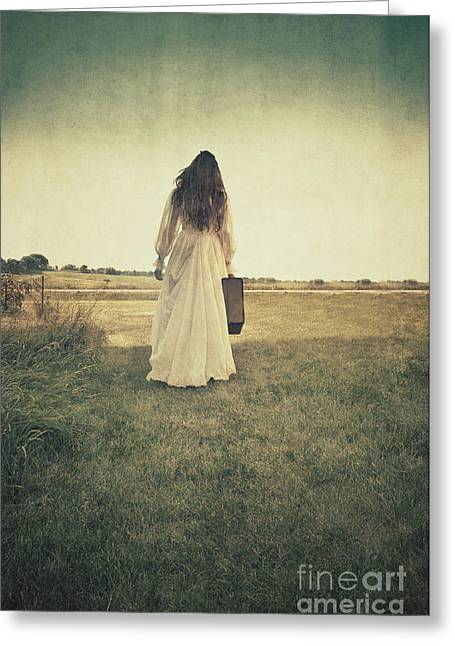 Lady In White Vintage Gown Walking Away Greeting Card