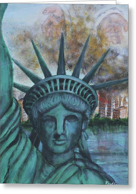 Lady Liberty Cries Greeting Card