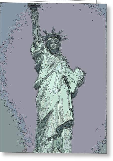 Lady Liberty Greeting Card by Mickey Hatt