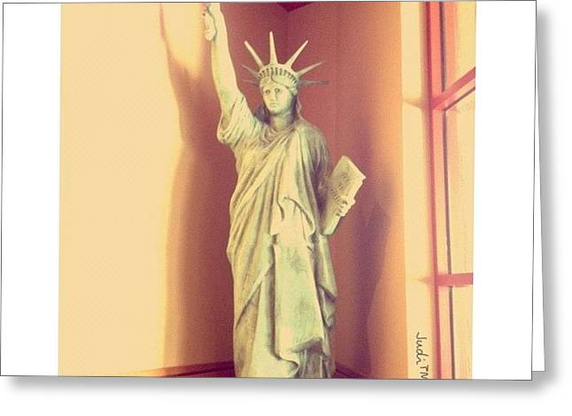 Lady Liberty With A Burger Torch!! Lol! Greeting Card