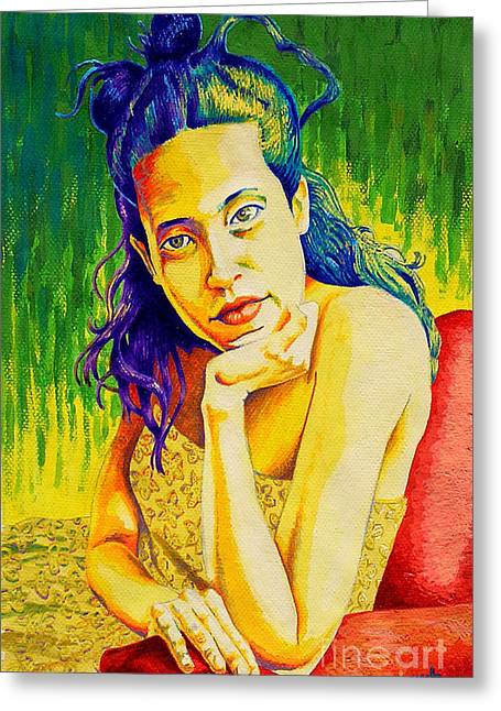 Lady N Colour Greeting Card by Jose Miguel Barrionuevo