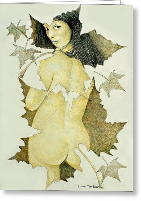 Lady Of The Leaf 4 Greeting Card