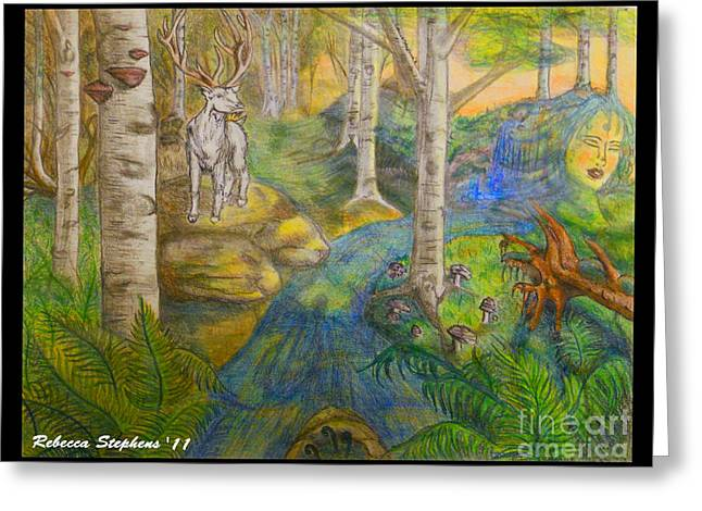 Lady Of The White Birch Greeting Card by Rebecca Stephens