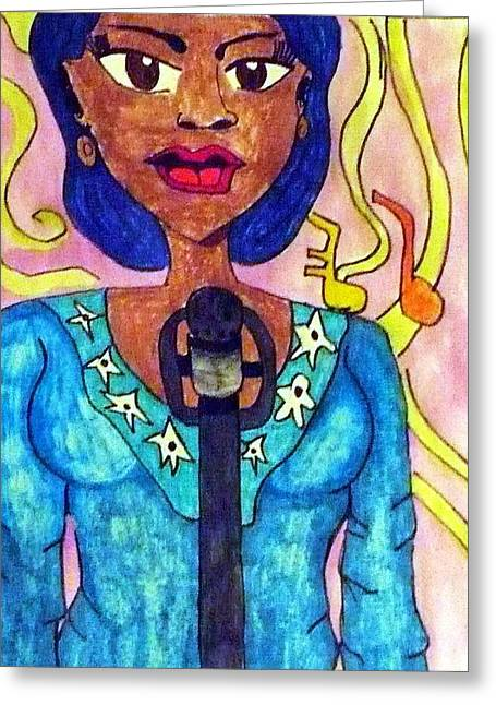 Lady Singer Greeting Card by Artists With Autism Inc