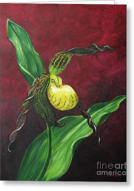 Greeting Card featuring the painting Lady Slipper by Dwayne Glapion
