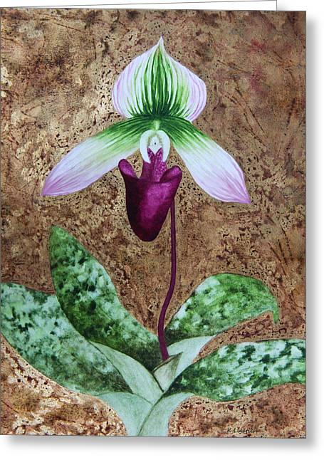 Lady Slipper Orchid With Gold Leaf Background Greeting Card by Kerri Ligatich