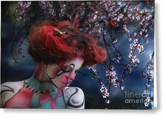Greeting Card featuring the digital art Lady Spring Silence by Rosa Cobos