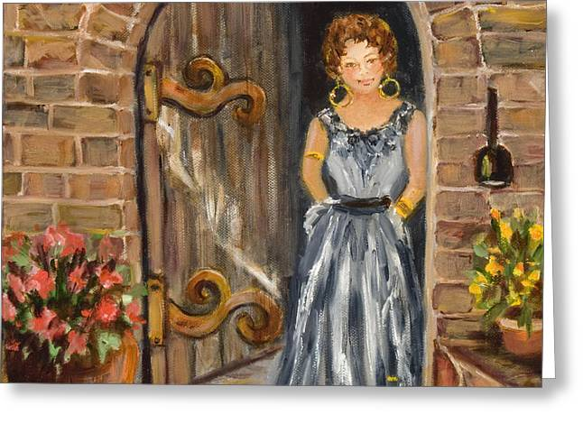 Lady Waiting Greeting Card