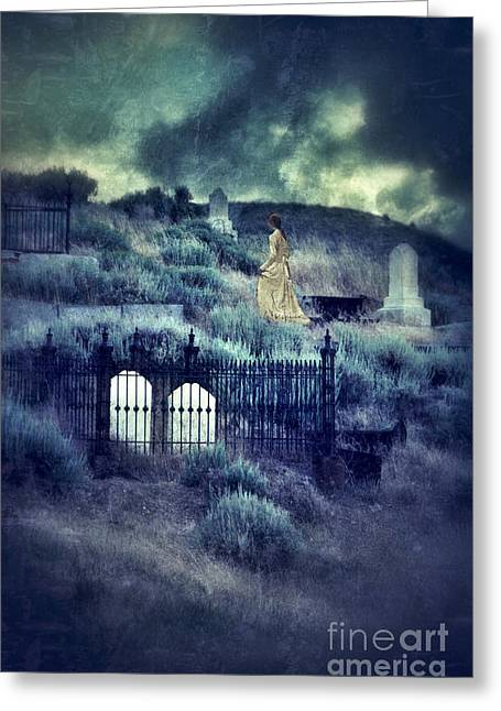 Lady Walking In Cemetery Greeting Card