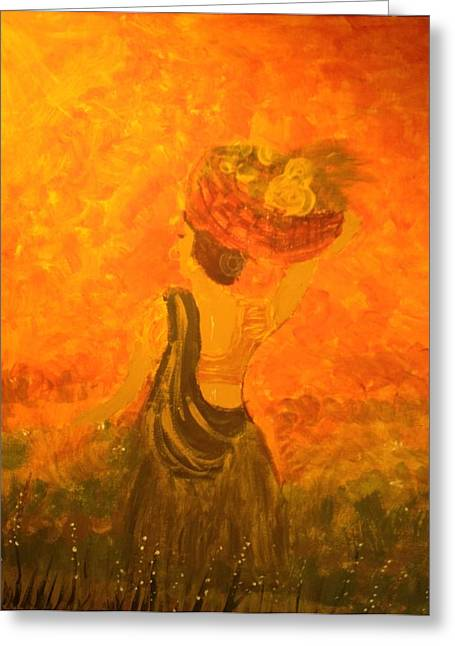 Lady With A Basket Greeting Card