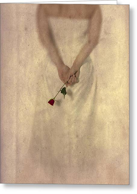 Lady With A Rose Greeting Card by Joana Kruse